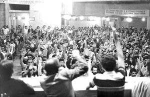 Assembléia da categoria nos anos 80