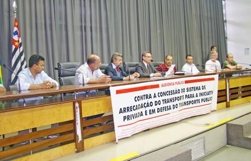 Fórum em Defesa do Transporte Público promove audiência pública, na Assembléia Legislativa de São Paulo, denunciando o projeto que privatiza o sistema de arrecadação do transporte público