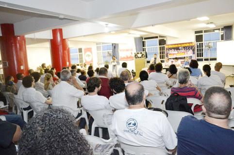 Ato realizado em 3 de dezembro, contra as práticas antissindicais
