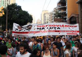 O Sindicato dos metroviários participou da primeira manifestação contra o aumento das tarifas