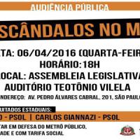 """Audiência Pública """"Os escândalos no Metrô"""""""