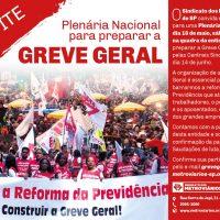 18/5: Plenária Nacional para preparar a Greve Geral