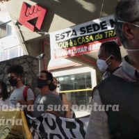 Manifestação contra a venda do terreno da sede do Sindicato dos Metroviários